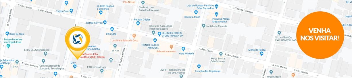 Franquia energia solar Franca mapa - Blue Sol Energia Solar