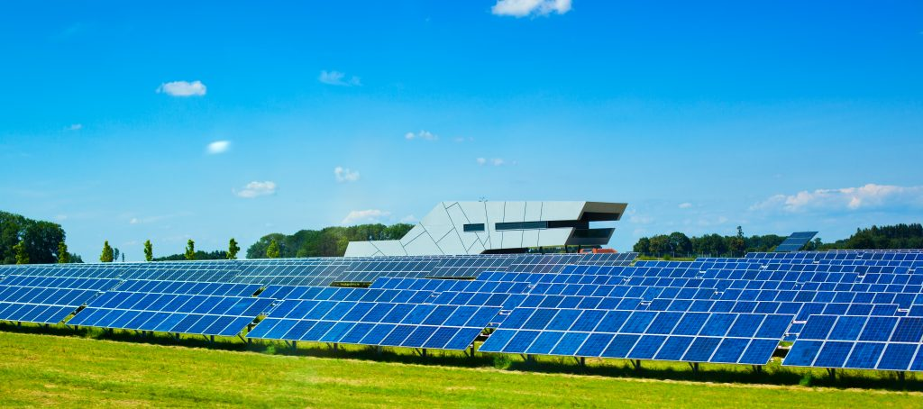 Placas solares: Usina solar com grande número de módulos fotovoltaicos